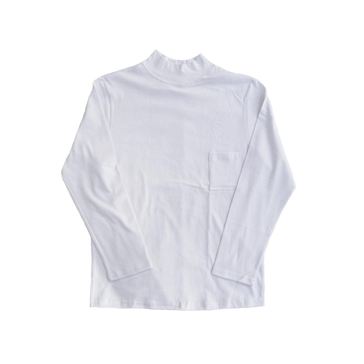 画像1: BACK HEAD ハイネック ロングスリーブ Tシャツ ホワイト メンズ (1)