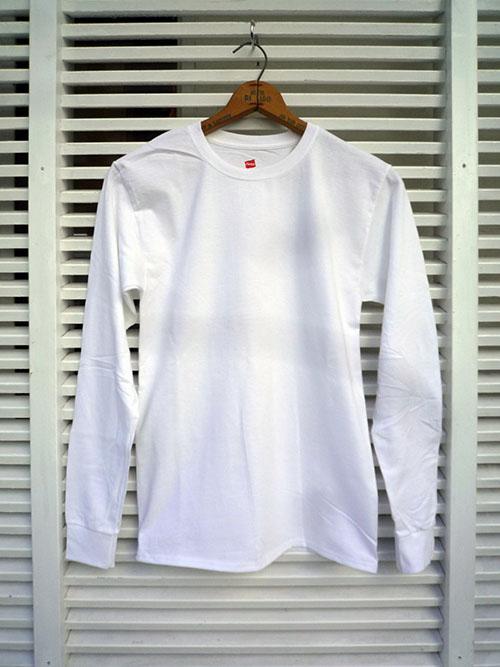 画像1: 【セール 47%OFF】Hanes ヘインズ ロングスリーブTシャツ ホワイト メンズ (1)