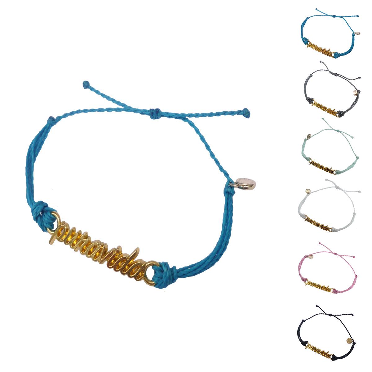 画像1: 【セール 80%OFF】puravida bracelets プラヴィダブレスレット GOLD WORD PURAVIDA 全6色 レディース/メンズ (1)