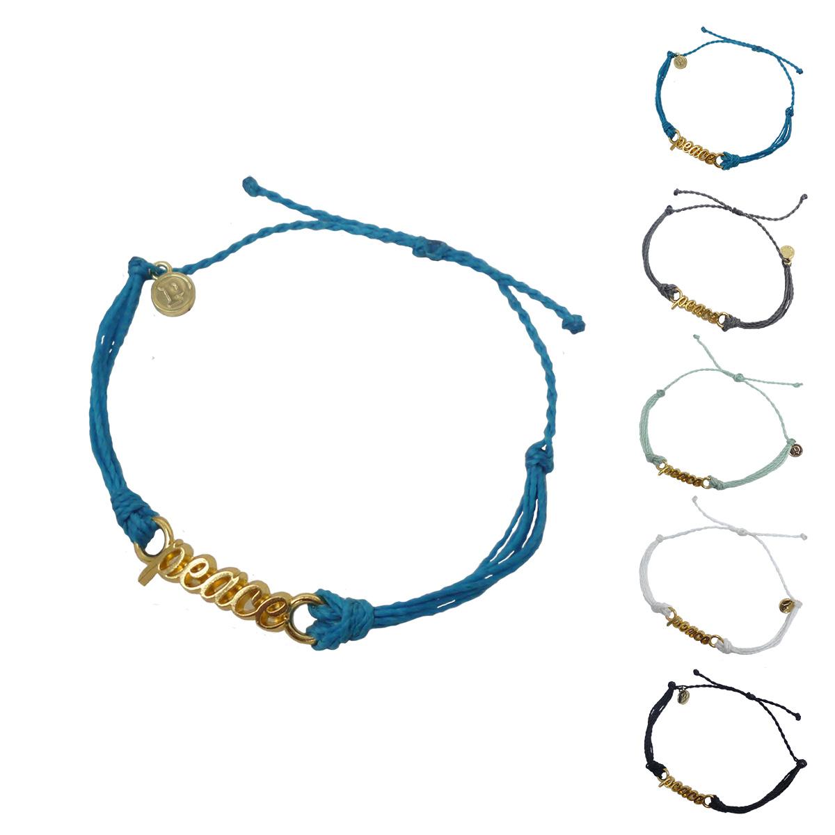 画像1: 【セール 80%OFF】puravida bracelets プラヴィダブレスレット GOLD WORD PEACE 全5色 レディース/メンズ (1)