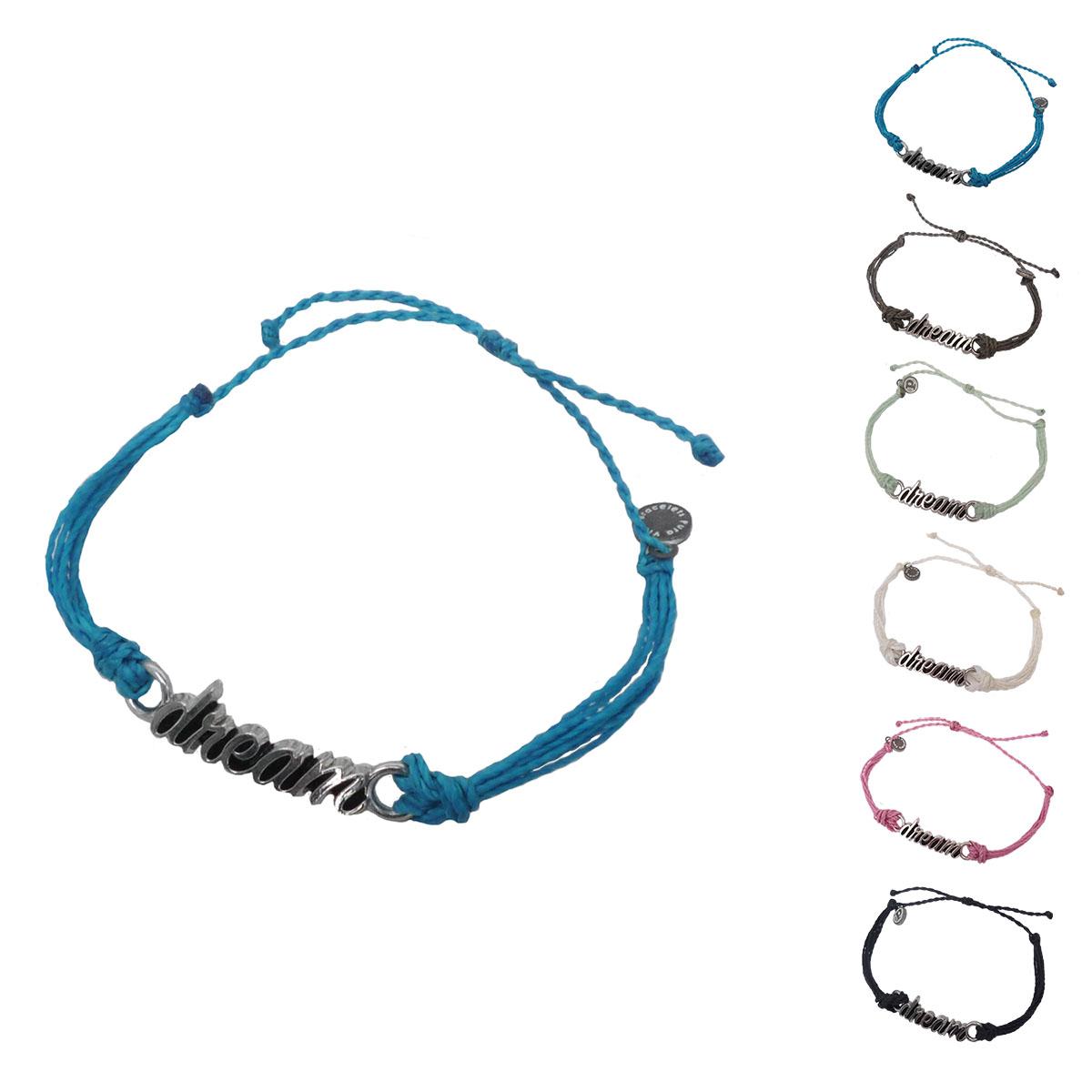 画像1: 【セール 80%OFF】puravida bracelets プラヴィダブレスレット SILVER WORD DREAM 全6色 レディース/メンズ (1)