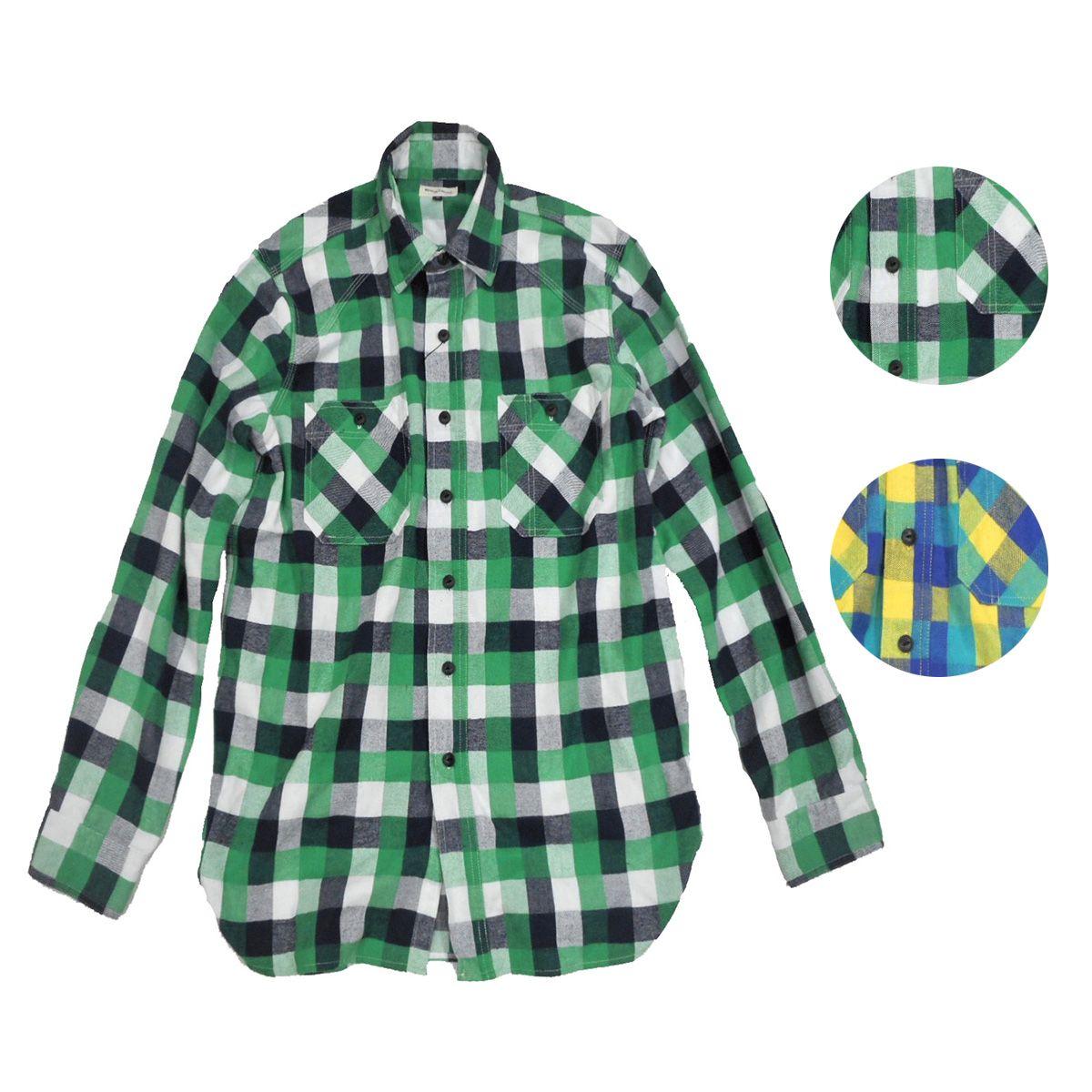 画像1: BACK HEAD バックヘッド ライトネルワークシャツ 全2色 メンズ (1)