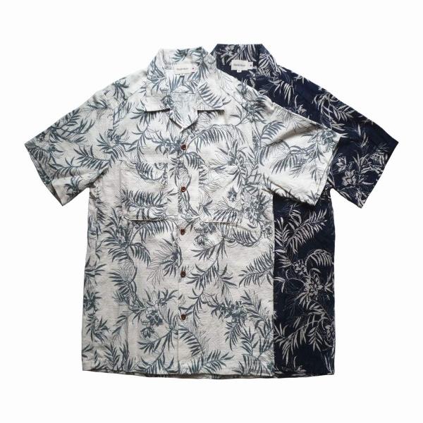 画像1: 【セール 70%OFF】BACK HEAD バックヘッド シアサッカーオープンシャツ リーフ 全2色 メンズ (1)