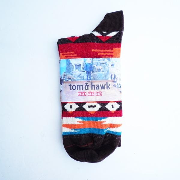 画像1: TOM&HAWK トムアンドホーク ソックス ナチュラル/ブラウン メンズ (1)