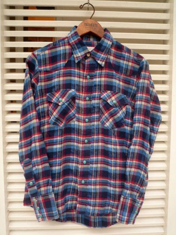 画像1: 【セール 40%OFF】BACK HEAD バックヘッド ウエスタンシャツ ブルー メンズ (1)
