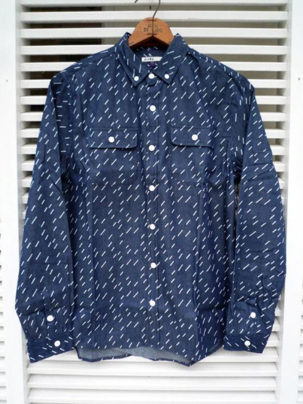 画像1: 【セール 70%OFF】ALTRU アルトゥル レインシャツ インディゴ メンズ (1)