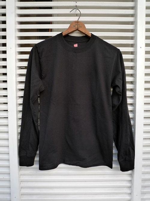 画像1: 【セール 47%OFF】Hanes ヘインズ ロングスリーブTシャツ ブラック メンズ (1)