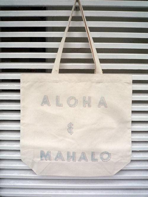 画像1: WIMINI HAWAII ウィミニハワイ ALOHA&MAHALO トートバッグ ナチュラル ユニセックス (1)