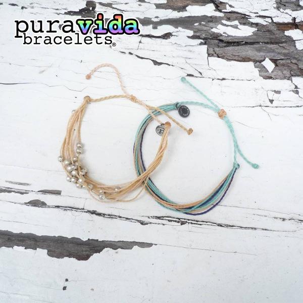 画像1: puravida bracelets プラヴィダブレスレット プラチナ+オリジナル  2本セット (1)