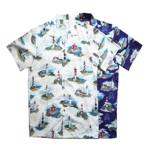 画像1: PARADAISE FOUND パラダイスファウンド アロハシャツ LIGHT HOUSE 全2色 メンズ (1)